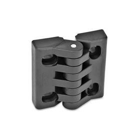 EN 151.4 Bisagras de tecnopolimero plástico, ajustable, con agujeros ranurados  Tipo: HB - Ranuras horizontales y verticales