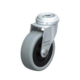 LRA-VPA Steel, Gray Rubber Wheel Swivel Casters with Bolt Hole Mounting, Standard Bracket Series Type: G - Plain Bearing