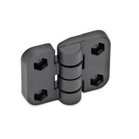 EN 158 Bisagras de plástico tecnopolímero, con tres opciones de montaje   Tipo: B - 2x2 orificios para tornillos hexagonales