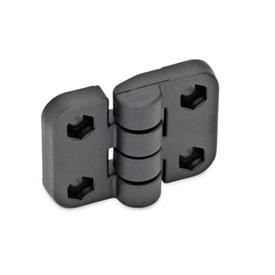 EN 158 Technopolymer Plastic Hinges, with Three Mounting Options   Type: B - 2x2 bores for hexagon screws