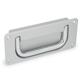 GN 425.8 Steel or Stainless Steel Folding Handles with Recessed Tray	 Material handle: CR - Steel, chrome-plated finish<br />Finish tray: SR - Silver, RAL 9006, textured finish