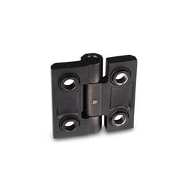 GN 237.3 Stainless Steel Heavy Duty Hinges, Countersunk Through Holes with or without Centering Guides Material: NI - Stainless steel<br />Type: B - With bores for countersunk screws with centering guides<br />Finish: SW - Black, RAL 9005, textured finish