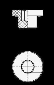 EN 746 Tapones para tubo roscado con cabeza hueca hexagonal de plástico tecnopolímero, con sello de caucho sintético NBR boceto