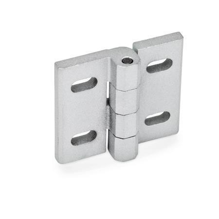 GN 235 Bisagras de zinc fundido a presión, ajustables Material: ZD - Zinc fundido a presión Tipo: B - Ranuras horizontales Acabado: SR - Plateado, RAL 9006, acabado texturizado