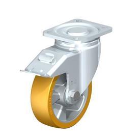 LH-ALTH Rodajas giratorias de acero con banda Extrathane® de servicio pesado, con placa de montaje, serie de soportes de servicio pesado Type: K-FI - Cojinete de bolas con freno «stop-fix»