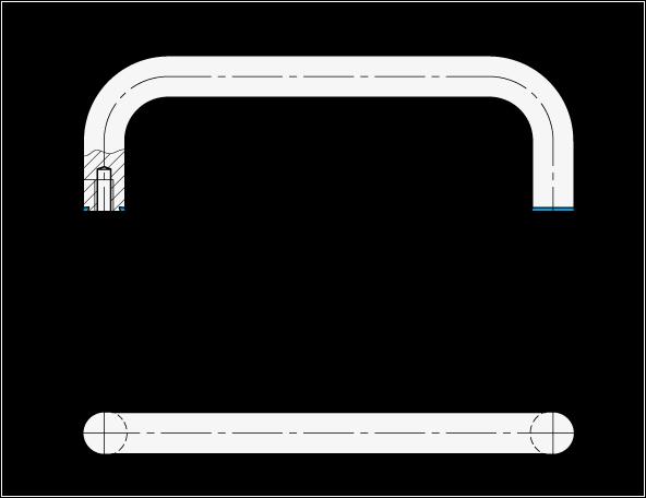 GN 429 Jaladeras en «U» para gabinete de acero inoxidable, diseño higiénico, con agujeros roscados boceto