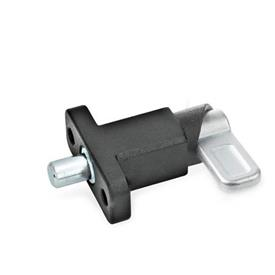 GN 722.2 Steel Square Cam Action Spring Latches, Lock-Out, with Mounting Flange Type: B - Latch position parallel to mounting holes<br />Finish: SW - Black, textured finish