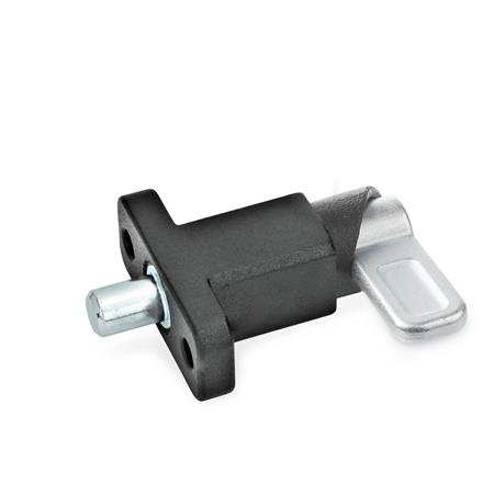 GN 722.2 Steel Square Cam Action Spring Latches, Lock-Out, with Mounting Flange Type: B - Latch position parallel to mounting holes Finish: SW - Black, textured finish