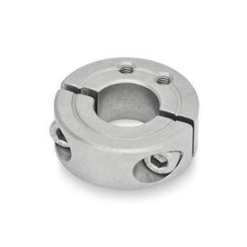 GN 7072.1 Collares de fijación partidos de acero inoxidable, con agujeros de fijación roscados Tipo: B - Agujeros de fijación roscados, axiales