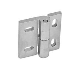 GN 235 Bisagras de acero inoxidable, ajustables Material: NI - Acero inoxidable<br />Tipo: HB - Ranuras horizontales y verticales<br />Acabado: GS - Acabado granallado mate