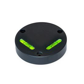 GN 2276 Aluminum Cross Spirit Levels, with Mounting Holes Sensitivity: 6 - Angular minutes, bubble moves by 2 mm<br />Type: AV - Aligned, mounting from the front<br />Color: ALS - Anodized finish, black