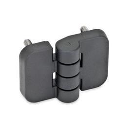 EN 158 Bisagras de plástico tecnopolímero, con tres opciones de montaje   Tipo: C - 2x2 espárragos roscados