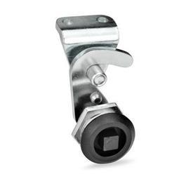 GN 115.8 Pestillos tipo gancho de zinc fundido a presión, funcionamiento con llave Anillo de posición de acabado: SW - Negro, RAL 9005, acabado texturizado<br />Tipo: VK7 - Funcionamiento con eje triangular A/F7<br />Identificación núm.: 2 - con soporte de cerradura