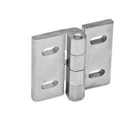 GN 235 Bisagras de acero inoxidable, ajustables Material: NI - Acero inoxidable<br />Tipo: B - Ranuras horizontales<br />Acabado: GS - Acabado granallado mate