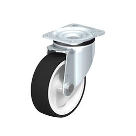 LK-POTH Steel Medium Duty Swivel Caster with Polyurethane Treaded Wheel, with Plate Mounting, Medium-Heavy Duty Bracket Series Type: G - Plain Bearing