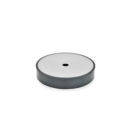 GN 438.5 Vulcanized Rubber Spacer Disks, with Stainless Steel Plate Type: A - Mounting with fixing hole