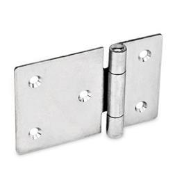 GN 136 Bisagras de chapa metálica de acero, con ala extendida Material: NI - Acero inoxidable<br />Tipo: C - Con agujeros avellanados