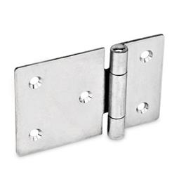 GN 136 Stainless Steel Sheet Metal Hinges, with Extended Hinge Wing, Bores for Cylinder Head Screws or Countersunk Screws Material: NI - Stainless steel<br />Type: C - With countersunk holes
