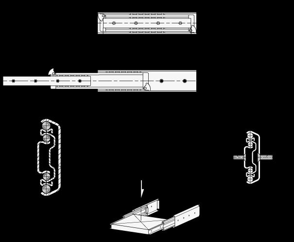 GN 1426 Guías telescópicas de acero, con extensión completa de dos lados, capacidad de carga de hasta 310 lbf boceto