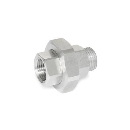 GN 7405 Filtros de conexión de acero inoxidable Tipo: B - Conector con rosca hembra / macho