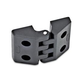 EN 155 Bisagras de plástico, diversos tipos de montaje Tipo: B - 2x2 agujeros para tornillos de cabeza hueca