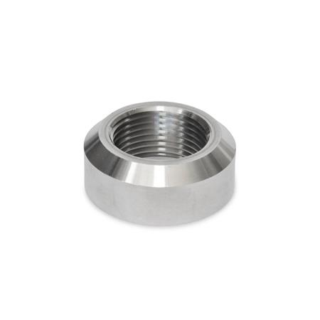 GN 7490 Stainless Steel Weld Bushings, with or without Collar Material: NI - Stainless steel Type: A - With chamfer