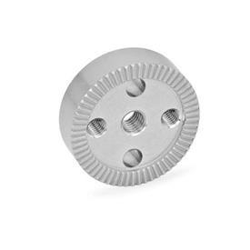 GN 187.4 Placas de bloqueo dentadas de acero inoxidable Tipo: C - con agujero roscado en el centro, con dos agujeros de montaje roscados