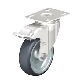 LKPXA-TPA Rodajas giratorias de acero inoxidable de servicio ligero, con ruedas de caucho termoplástico y soportes pesados   Type: G-FI - Cojinete liso con freno «stop-fix»