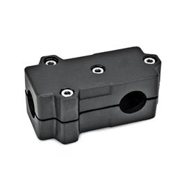 GN 193 Aluminum, Split Assembly, T-Angle Connector Clamps Bore d<sub>1</sub>: B 40<br />Finish: SW - Black, RAL 9005, textured finish<br />Identification No.: 2 - with 4 Stainless Steel-clamping screws DIN 912