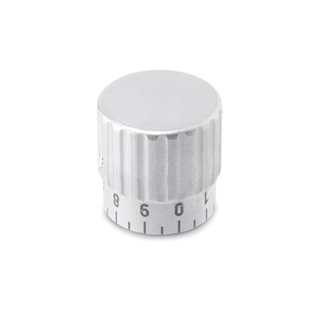 GN 436.1 Stainless Steel Knurled Control Knobs, with Extended Hub for Graduation Scale  Type: S - with standard scale 0...9, 20 graduations