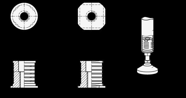 GN 992 Insertos roscados para tubo, medidas métricas, de aluminio, tipo redondo o cuadrado  boceto
