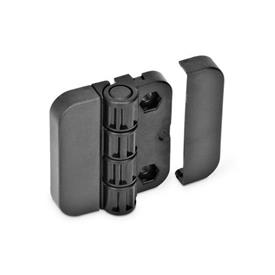 EN 122.1 Technopolymer Plastic Hinges with 4 Indexing Positions Type: EH - 2x2 bores for hexagon screws