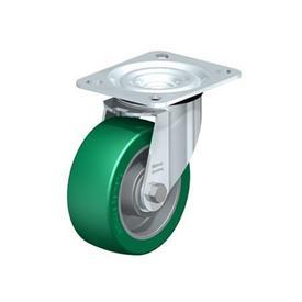 L-ALST Rodajas giratorias de aluminio estampado con acero, con soportes de servicio medio Type: K - Cojinete de bolas