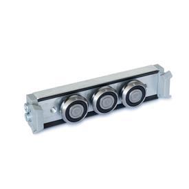 GN 2424 Carros de rodillos, aluminio o acero, medidas métricas, para rieles de guías de rodillo GN 2422 Tipo: N - Carro de rodillos normal, disposición central<br />Versión: X - con junta de fricción para riel de cojinetes fijos (riel en X)