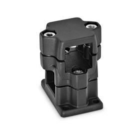 GN 141 Aluminum, Multi-Part Assembly, Flanged Two-Way Connector Clamps, Round and/or Square Bore Type   Finish: SW - Black, RAL 9005, textured finish