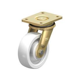 LS-SPO Rodajas giratorias de acero con rueda de nylon blanco de servicio pesado, con placa de montaje, serie de construcción soldada Type: K - Cojinete de bolas