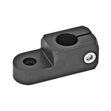 GN 482 Abrazaderas articuladas giratorias, medidas métricas, de aluminio Acabado: ELS - Anodizado negro Tipo: P - Orificio de sujeción paralelo al eje de giro