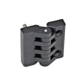 EN 151 Bisagras de plástico, diversos tipos de montaje Tipo: F - 2 espárragos roscados / 2 agujeros para tornillos avellanados