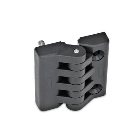 EN 151 Bisagras de tecnopolimero plástico Tipo: F - 2 espárragos roscados / 2 agujeros para tornillos avellanados