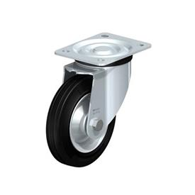 L-RD Heavy pressed steel Medium Duty Black Rubber Wheel Casters, with Plate Mounting Type: R - Roller Bearing