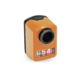 EN 955 Indicadores de posición digitales de plástico tecnopolímero, pantalla de 3 dígitos Instalación (vista anterior): FR - en el frente, abajo<br />Color: OR - Naranja, RAL 2004
