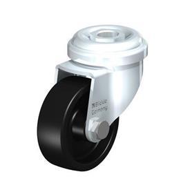 LRA-POA Rodajas giratorias de acero con ruedas de nylon negro,montaje con agujero para perno o vástago roscado, serie de soportes estándar Type: G - Cojinete liso