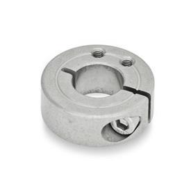 GN 7062.1 Collares de fijación semipartidos de acero inoxidable, con agujeros de fijación roscados Tipo: B - Agujeros de fijación roscados, axiales