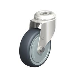 LKRXA-TPA Stainless Steel Light Duty Swivel Casters with Thermoplastic Rubber Wheels and Bolt Hole Fitting, Heavy Bracket Series  Type: KD-FK - Ball Bearing Seals with Thread Guard