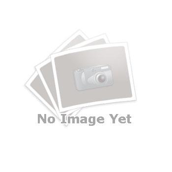 GN 237 Bisagras de zinc fundido a presión con ala de bisagra extendida Material: ZD - Zinc fundido a presión Tipo: A - 2x2 orificios para tornillos avellanados Acabado: SR - Plateado, RAL 9006, acabado texturizado