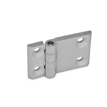 GN 237 Zinc Die-Cast Hinges with Extended Hinge Wing Material: ZD - Zinc die-cast Type: A - 2x2 Bores for countersunk screws Finish: SR - Silver, RAL 9006, textured finish