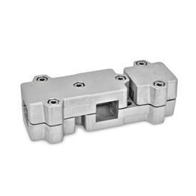 GN 195 Abrazaderas para conectores en ángulo en T, aluminio, montaje multipiezas Cuadrado s: V 40<br />Identificación núm.: 2 - con 6 tornillos de sujeción DIN 912, de acero inoxidable<br />Acabado: BL - Sin troquelar