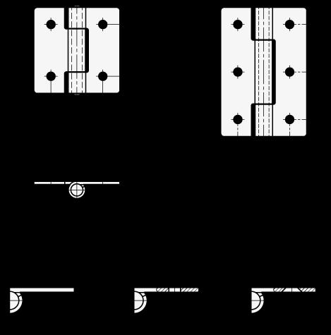 GN 136 Bisagras de chapa metálica de acero inoxidable, con orificios para tornillos de cabeza cilíndrica o tornillos avellanados boceto