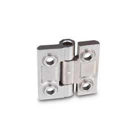 GN 237.3 Stainless Steel Heavy Duty Hinges, Countersunk Through Holes with or without Centering Guides Material: NI - Stainless steel<br />Type: B - With bores for countersunk screws with centering guides<br />Finish: GS - Matte shot-blasted finish