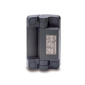 EN 239.6 Bisagras de plástico tecnopolímero con interruptor de seguridad integrado, con clavija conectora Tipo: CS - Conector en la parte trasera